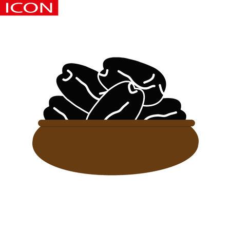 Vector Ramadan Hurma. Dried dates on a plate.eps 10.