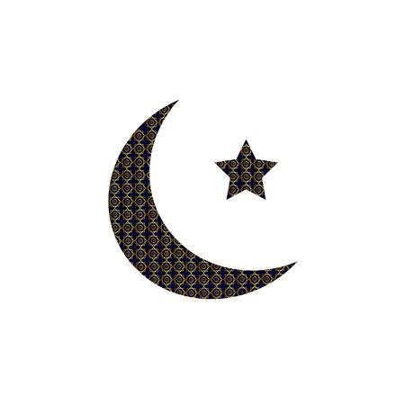 Crescent logo Muslim star, Arabic Islamic golden symbol 向量圖像