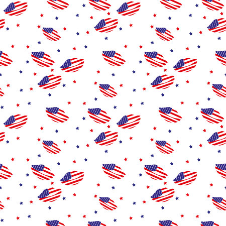Vector seamless background with the lips of the flag of America. Useful for wrapping paper, wrap box, textile, cover, T-shirt design. 矢量图像