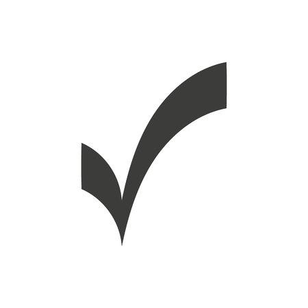 Black check mark icon. Tick symbol in black color, vector illustration.