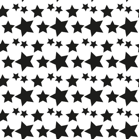 Geometric seamless pattern. Monochrome randomly abstract vector texture with stars