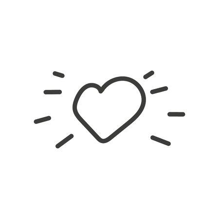 Hearts with shine, love burst symbol. Heart sunshine linear icon . Illusztráció