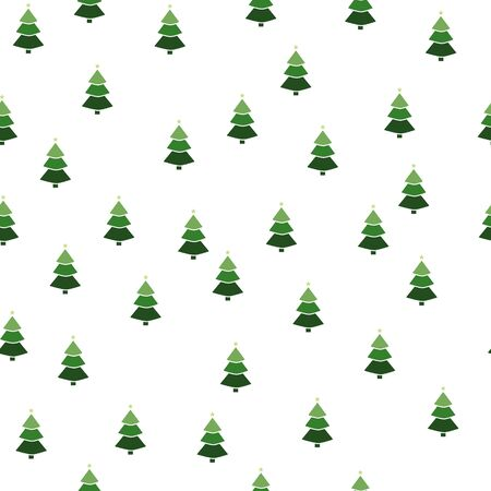 Christmas semless pattern with snowflake, christmas ball, gift box and Christmas tree on white background. Vector illustration.