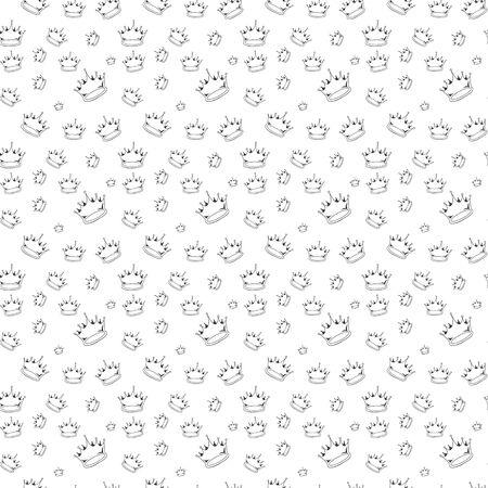 Black outline hand drawn vector crown seamless pattern. Cute doodle modern isolated pop art elements Illusztráció