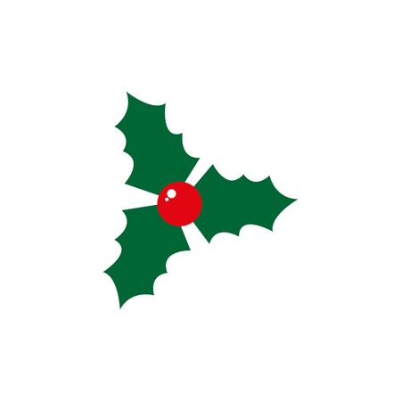 Holly berry leaves Christmas symbol. Vector illustration. eps 10