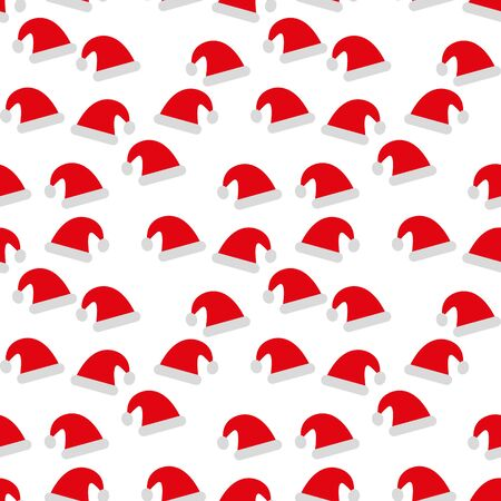 Santa Claus red hat isolated seamless background. Santa Christmas hat decoration. vector illustration in flat styl
