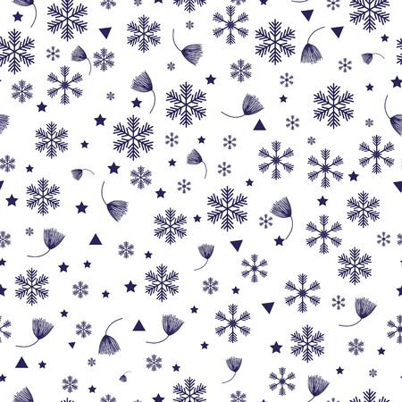 Snowflake line seamless pattern. Layered winter season ornate star background. Linear snow flakes repeat ornament for paper wrap, fabric print, wallpaper decor. Frosty ice outline vector illustration