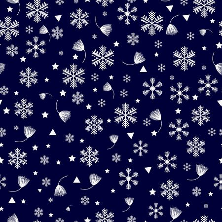 Snowflakes seamless pattern. Blue snowflake vector xmas abstract background