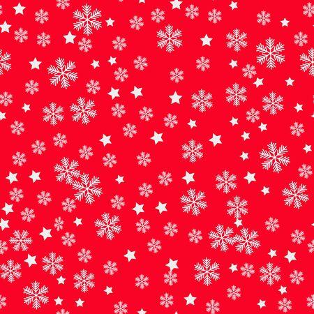 Christmas Snowflakes red Background. Seamless Repeating Pattern Illusztráció