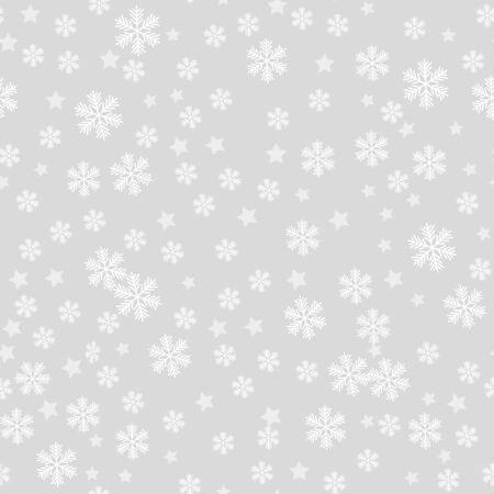 Seamless pattern of snowflakes on a gray background Illusztráció