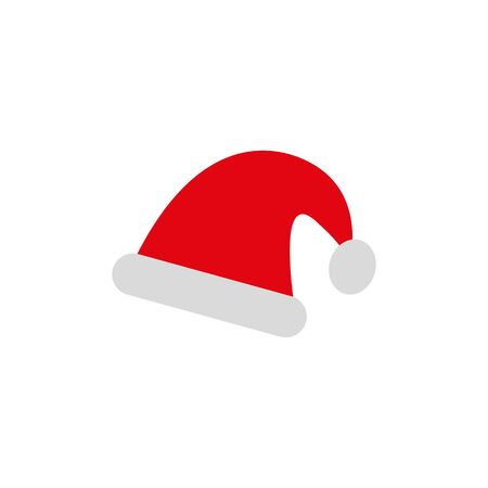 Santa Claus red hat isolated. Santa Christmas hat decoration. vector illustration in flat styl