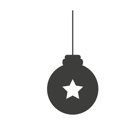 Christmas ball, vector greeting card template with white background. Christmass tree icon, flat design best vector icon. Vector illustration.
