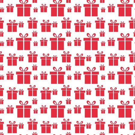 Seamless vector Gift pattern, red gift boxes on white background. Illusztráció