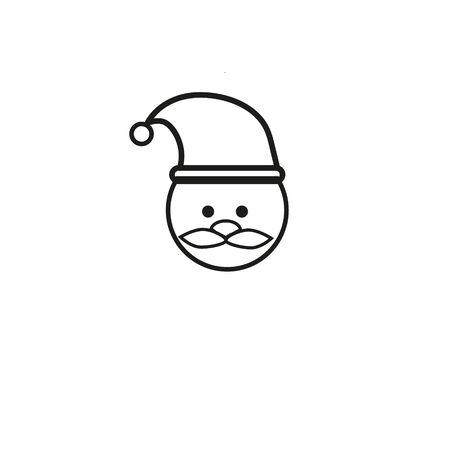 santa claus face beard moustache happy xmas christmas new year outline thin line vector icon black on white background Illusztráció