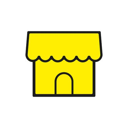 Simple Store or shop icon.Merchant store, vector icon illustration in line outline style.