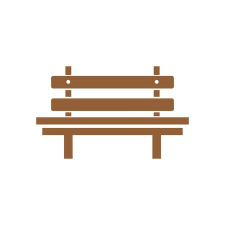 Wooden bench isolated on white background. Park brown vector bench in flat style. eps 10 Illustration