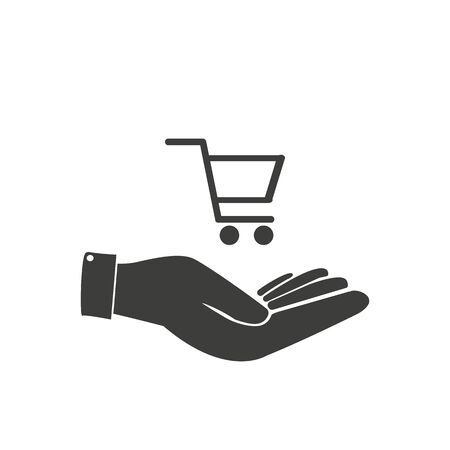 Basket in hand icon.