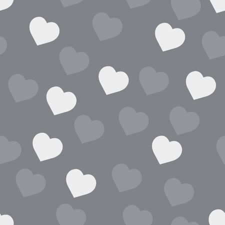 Tile cute vector pattern with hand drawn white hearts on grey