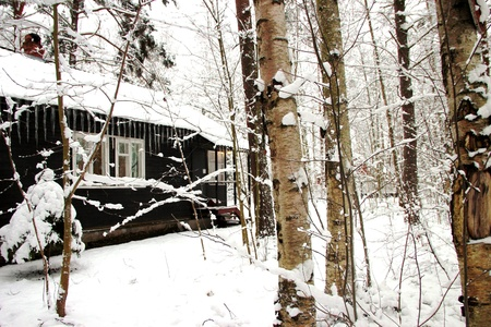 Winter landscape house with icicles in the woods Editorial