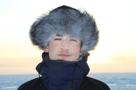 A portrait of man is in a fur cap Stock Photo - 12397911
