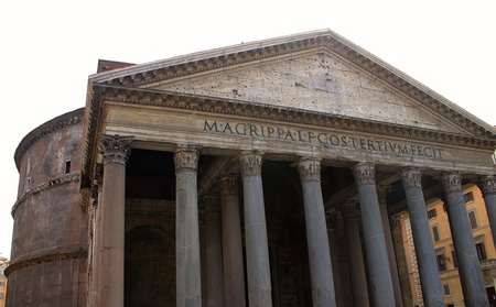 View to beautiful Roman pantheon in Italy