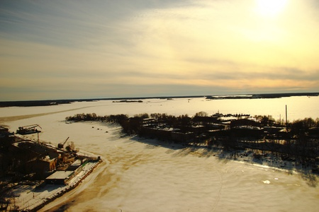 Winter view from the height of the tower Vyborg  Stock Photo