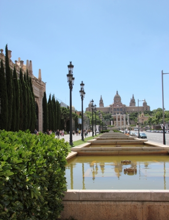 Cathedral Montjuic. Stage water and shrubs