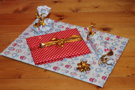 Packed gifts with love. Preparing for the holidays. Stock Photo