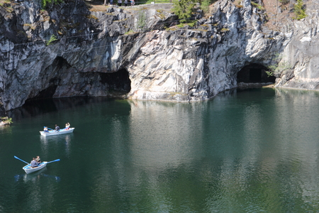 karelia: Marble quarry in Ruskeala, Republic of Karelia, Russia. View from above