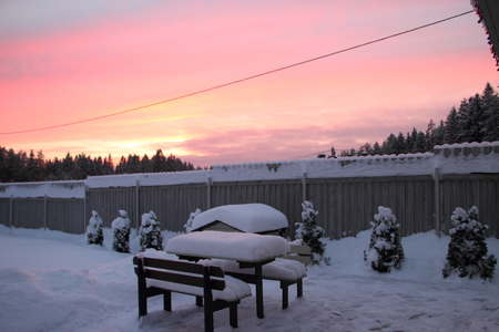 Doghouse and winter sunset.