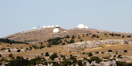 Base with white domes on top of Ai-Petri mountain in Crimea, Russia. Stock Photo
