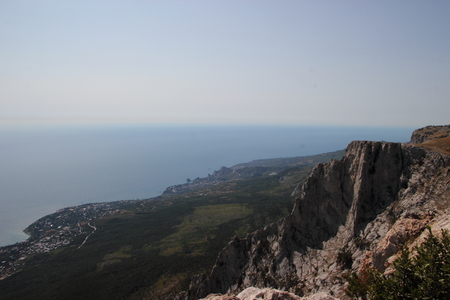 Stunning view from the height of the Ai-Petri mountain in Crimea Stock Photo