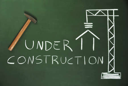 Construction Site drawn on a blackboard Stock Photo - 14006197