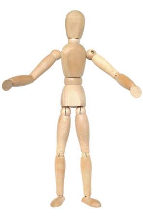 marioneta de madera: Maniquí de madera con los brazos abiertos. Aislado en blanco.