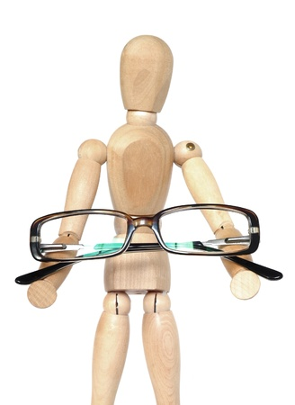 wooden mannequin: Wooden dummy holding glasses, Isolated on a white background.