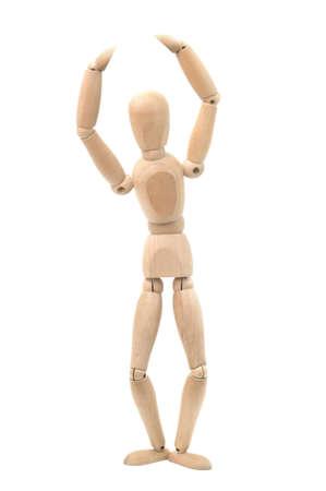 marioneta de madera: Baile maniquí de madera. Aislado en un fondo blanco.