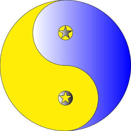 A blue and yellow ying yang with stars in eyes