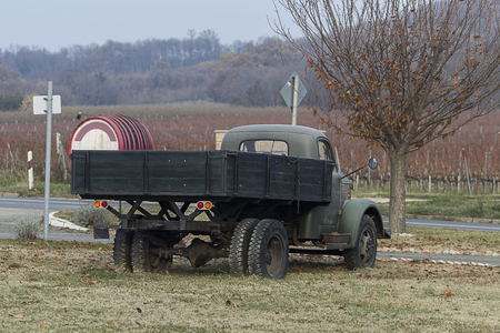 Soviet time truck's rear view in a rural area in Central Europe in autumn. Stock Photo