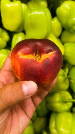 Close up of a male hand holds Prunus persica, aka nectarine with green sweet bellpeppers in the background.