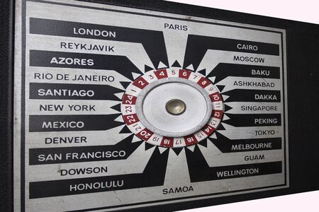Cities of the world connected on the hub-spoke type indicator of a vintage radio.