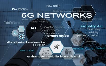 Digital composite image representing 5G network features accompanied by associated concepts like industry 4.0, smart cities, distributed networks and mobile broadbands.