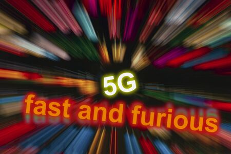 Digital illustration for fast and destructively innovative 5G mobile broadband technologies.