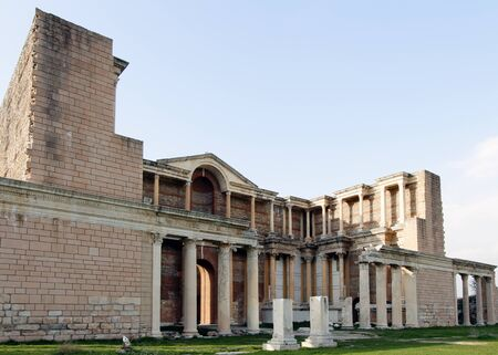 The ruins of the Greek Gymnasion at Sardis on a clear sunny day under sun light.