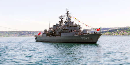Istanbul, Turkey May 19th, 2021: TCG Yildirim Frigate with pennant number f-243 at the entrance of Bosphorus, Istanbul, at Youth and Sports Day. Éditoriale
