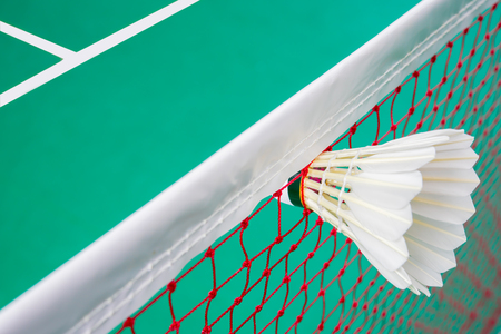 shuttlecock: Shuttlecock on net, badminton sports