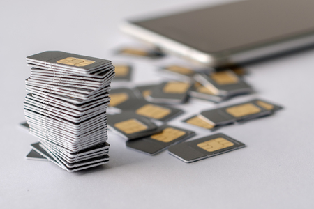 SIM cards are collected in a pile