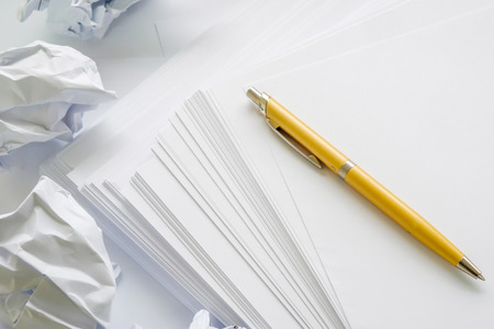 crumpled paper the writer who wrote nothing, white background