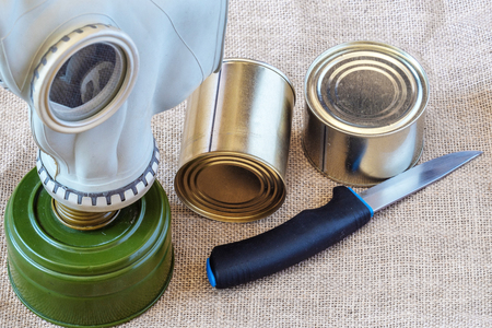 personal protective equipment in case of an attack, food and a gas mask, Russia Stock Photo