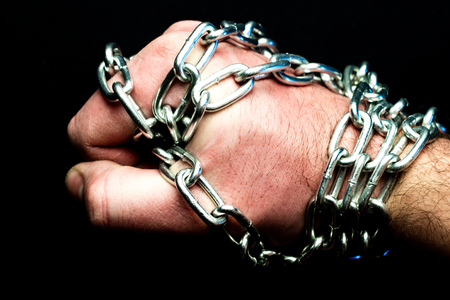 a fisted chain-wrapped leather stiffened from a sprinkle