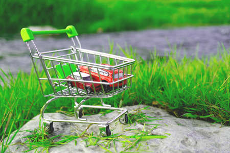 the shopping cart in the supermarket there are two toy cars the background of the green juicy grass